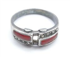 VTG STYLISH CARNELIAN and MARCASITE STERLING RING * SIZE 8.5