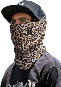 HURLEY Breathable Neck Gaiter One Size Cheetah Print Black Run Running