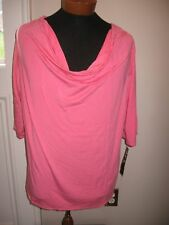 NWT We Be Bop Bubble Gum Pink Rayon Wrinkle Fighting Cowl Neck Blouse  Top 3X