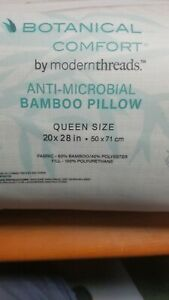"""Botanical Comfort Bamboo Pillow Queen 20' x 28"""" Anti-Microbial NEW"""