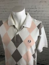 Men's Fred Perry White Grey diamond check short sleeved polo shirt Small | A58