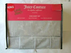 Juicy Couture King Sheets Set Gray, NEW