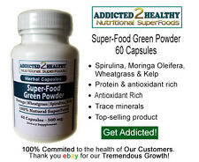 60 SuperFood Green Powder Capsules - Moringa Spirulina Wheatgrass Kelp