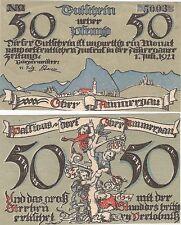 Germany 50 Pfennig 1921 Notgeld Oberammergau UNC Banknote - No Border