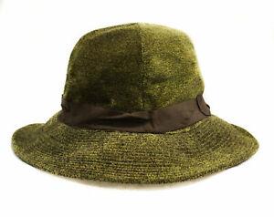 Girl's 1910s 1920s Wide Brim Hat - Olive Green Dappled Velveteen - Antique NOS