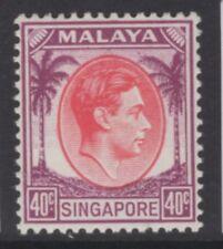 SINGAPORE SG11 1948 40c RED & PURPLE MTD MINT
