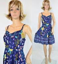 VTG 90s Old Navy Blue Floral Revival Full Ruffled Skirt Sheath Prairie Sun Dress