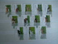 12 TIMBRES FRANCE ANNEE 2014  OBLITERES SERIE LES VACHES