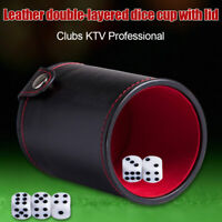 Black/Red Leather Dice Cup Felt Lining Quiet Shaker for Playing Dice Game