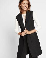 EXPRESS Women's Medium BLACK SLEEVELESS WOOL COAT long duster vest (M 8-10)