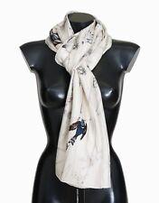 Dolce & Gabbana Scarf White 100 Silk Bird Print Wrap 190cm X 60cm