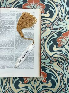 Cats  Books Gin Handcrafted Upcycled Antique Silver Plated Fish Knife Bookmark