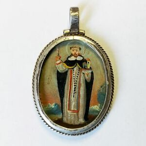 Reliquary Locket Saint Dominic. Cuzco Spanish Colonial Miniature Painting 18th C