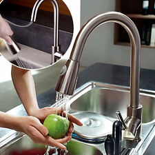 Kitchen Pull Out Spray Mixer Tap Swivel Spout Single Handle Sink Faucet