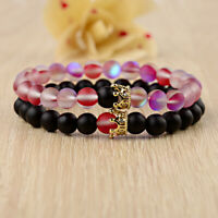 2Pcs Rose Red & Black Moonstone Crown Beads Couples Distance Bracelets Jewelry
