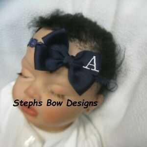 Navy Blue Monogram Dainty Hair Bow with Headband Personalized Preemie 2 Toddler