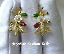 😍 Belles Boucles d'oreilles argent 925 or Oiseau Nacre Rubis Saphir brillant zc