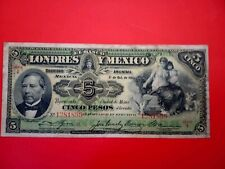 Banknote Mexico1913(f+)5 pesos(el Banco de londres y)
