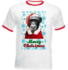 Monkey Santa snow - RED RINGER COTTON TSHIRT