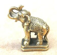 MINI ELEPHANT THAI BRASS FIGURINES MINIATURE STATUE WEALTH LUCKY CHARM AMULET