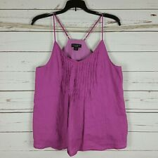 af032da338a5f Willi Smith Purple 100%Linen Pintucked Front Spaghetti Strap Summer Top M