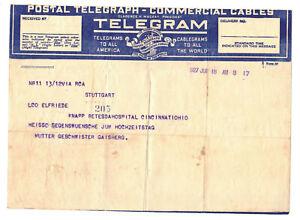 Telegram Cincinnati Ohio América Al Stuttgart 1927