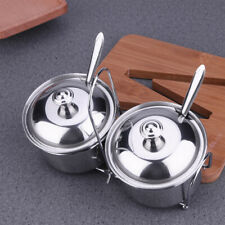 2Pcs Seasoning Box Spice Jars Salt Sugar Pepper Condiment Container with Lid