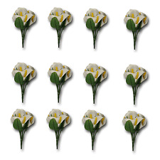 Bulk Pack Craft Artificial Flowers - 72 Single Stem Lily's ( 12 Bunches) White