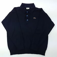 Lacoste Mens Vintage Pullover MEDIUM  Blue Pure New Wool Polo Neck