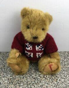 "Harrods Union Jack Red Knit Sweater 10"" Teddy Bear Brown Plush"