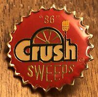Vintage 1986 Orange Crush Soda Sweeps Bottle Cap Design Lapel Hat Pin Pinback