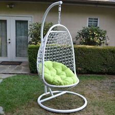 Wicker Rattan Swing Bed Chair Weaved Egg Shape Hanging Hammock- White/Lime