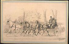 """LA ROCQUE G  """"ATTELAGE AU BOIS DE BOULOGNE""""  DESSIN A L'ENCRE  1887"""
