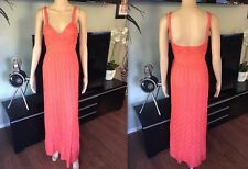 NEW MISSONI Sexy Coral Plunged Décolleté Open Back Dress Gown  IT 40 US 4
