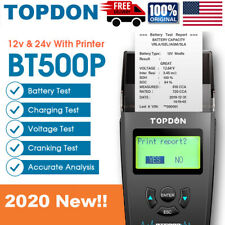 Car Battery Tester with Printer 12V 24V Load Tester TOPDON BT500P Analyzer Tool