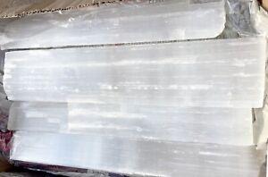 "18 "" XL Selenite Logs Natural Crystal Sticks Rough Wands BULK 8 lb LOT Wholesale"