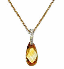 "Fully Hallmarked 9ct Yellow Gold, Citrine & Diamond Drop Pendant & 16"" Chain"