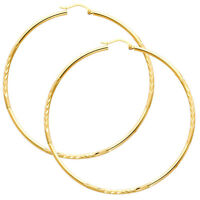 14K Real Yellow Gold 2mm Thick Diamond Cut Satin Polished Large Hoop Earrings