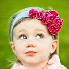 Baby Kinder Stirnband Rose Blume Blüte Haarband Mädchen Haarschmuck rot grau