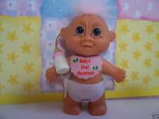 """BABY GIRL'S FIRST CHRISTMAS - 3"""" Russ Troll Doll - NEW IN ORIGINAL WRAPPER"""