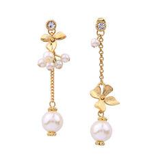 E1017 Betsey Johnson Bohemian Summer Flower Ball Gold Pearl Chain Earrings UK