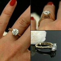 2.00Ct Round Cut VVS1 Brilliant Moissanite Engagement Ring Solid 14k Yellow Gold
