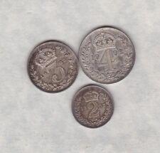 MATT PROOF 1902 EDWARD VII MAUNDY PART SET SILVER FOUR/THREE & TWO PENCE FDC