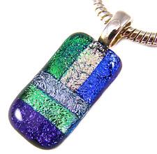 "DICHROIC Fused Glass Silver PENDANT Slide Green Blue Purple Violet Striped - 1"""