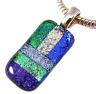 DICHROIC Fused Glass Silver PENDANT Slide Green Blue Purple Violet Striped - 1""
