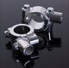 "7/8"" 22mm Motorcycle HandleBar 10mm Mirror Thread Mount Holder Clamp Adaptor Chr"