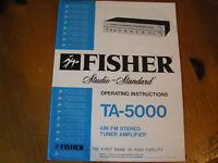 FISHER STUDIO-STANDARD OPERATING INSTRUCTIONS TA-5000 AM/FM STEREO TUNER AMPLIFR