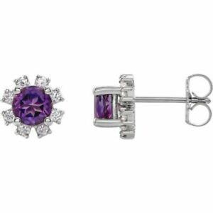 Amethyst & 1/4 CTW Diamond Earrings In Sterling Silver