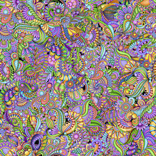 Fabric Festival Paisley Geo Packed Multi Color Cotton QT 1/4 Yard 28027 X