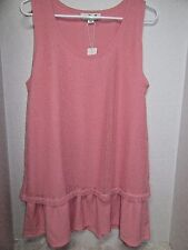 Simply Noelle Peach Ruffle Tunic Tank Top Layered Mesh Sparkle L XL 12 14 New